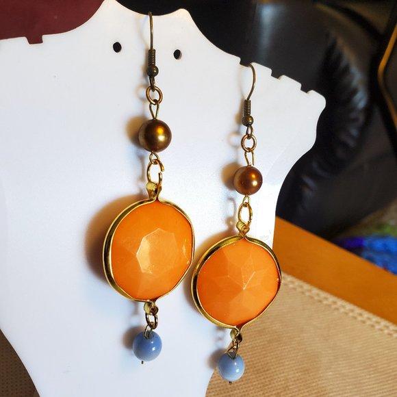 "2.5"" Bronze Hook Orange Disc Blue Bead Earrings"